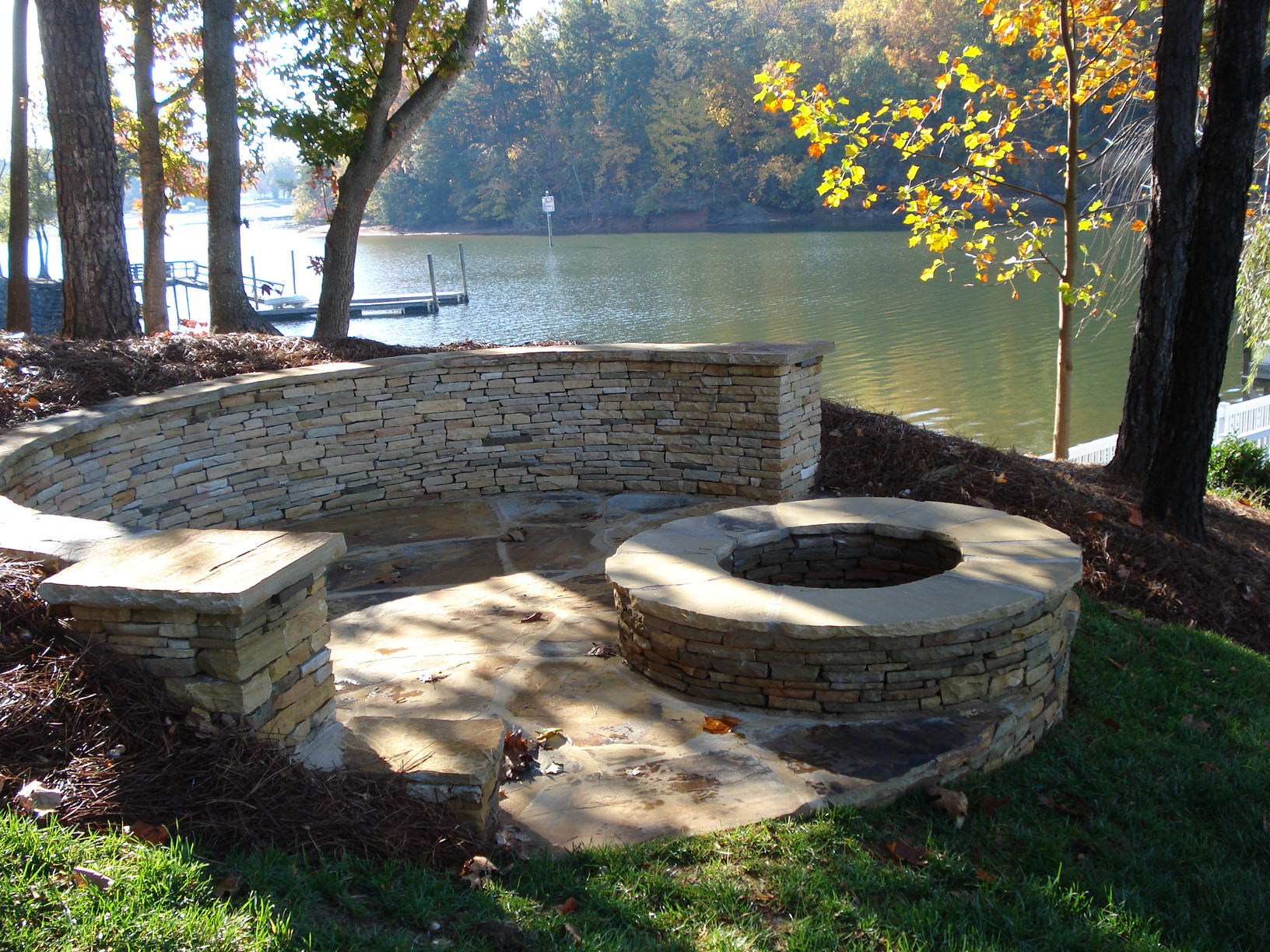 ... Natural Stone Patio Designs That . Lakeside Patio And Fire Pit . ...