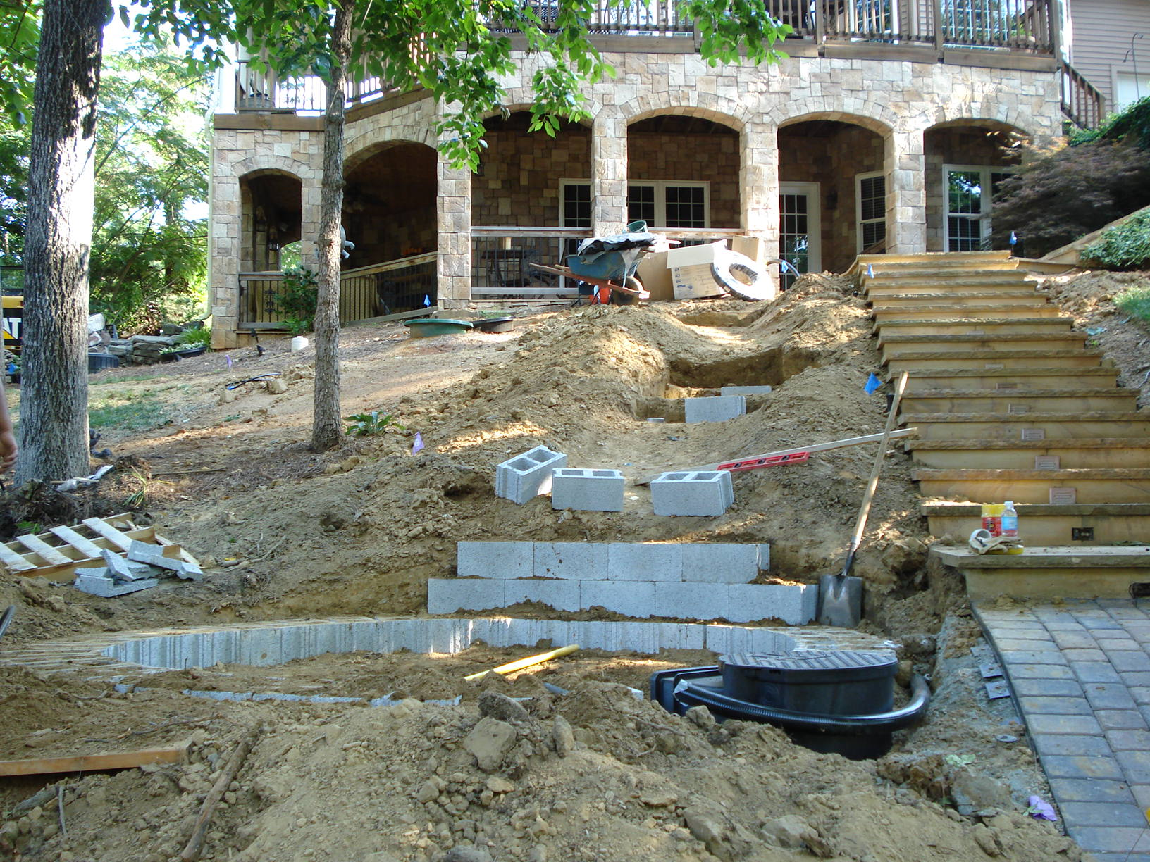 Before waterfall and plantings for Waterfall installation