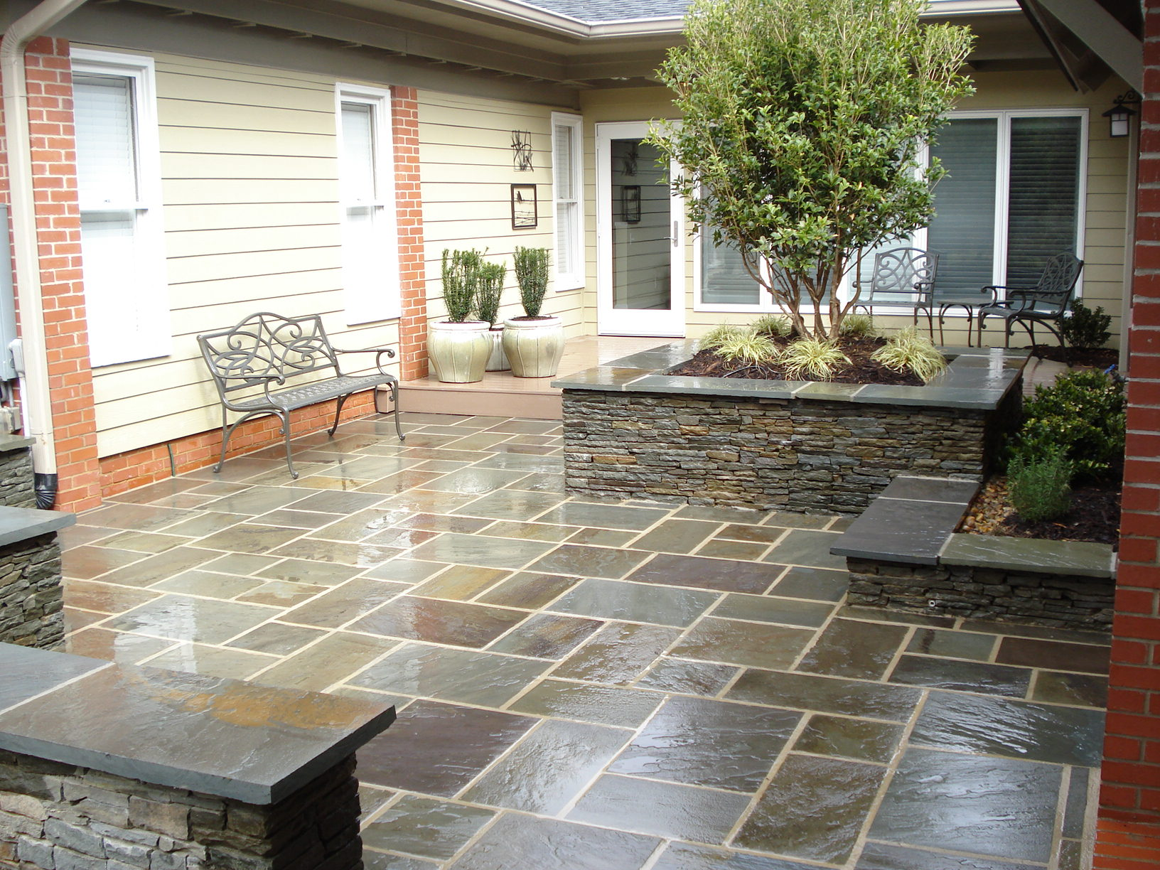 house with different color detached garage ideas - After — Bluestone Patio and Seat Wall